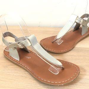 Salt Water Sandals T-Strap Flip Flop Silver 4 6